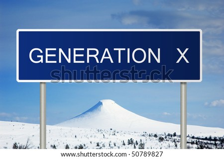 A blue road sign with white text saying Generation X - stock photo