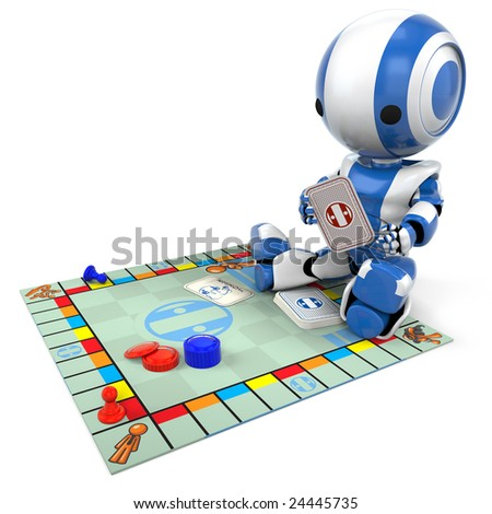 A blue robot playing a generic board game. Good for concepts involving strategy, entertainment, etc. - stock photo