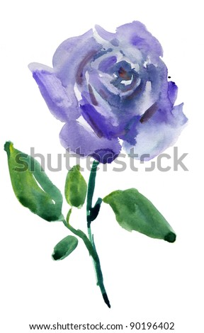 a blue rose isolated on a white background. watercolor - stock photo