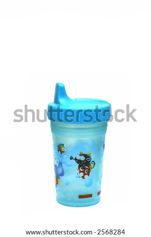 A Blue sippy cup isolated against a white background - stock photo