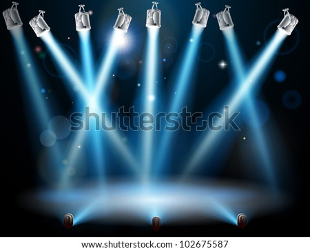 A blue spotlight background concept with lots of lights like spotlights in a light show or during a dramatic theatre stage performance - stock photo
