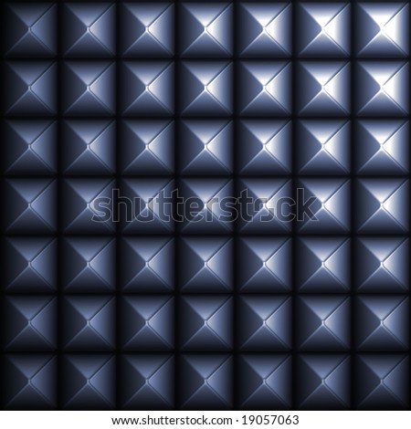 A blue studded metal pattern you might find on a belt or fashion accessory. - stock photo