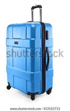 a blue suitcase isolated on a white background - stock photo