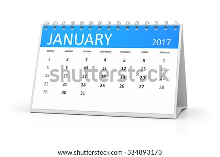 A blue table calendar for your events 2017 january - stock photo