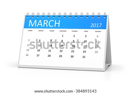 A blue table calendar for your events 2017 march - stock photo