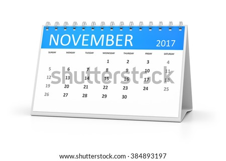 A blue table calendar for your events 2017 november - stock photo