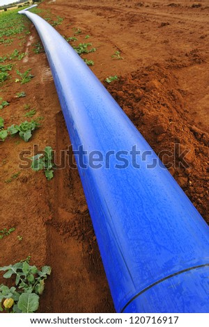 A blue water pipe resting on red soil before being buried underground. - stock photo