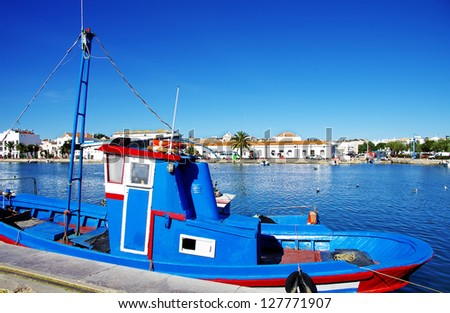 A boat���´s detail on the river of Tavira - stock photo