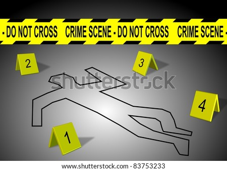A body outline with crime scene tape and numbers / Crime scene - stock photo