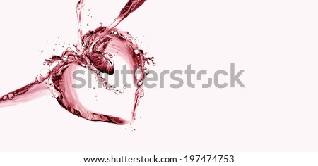 A border of a heart made of red liquid splashing.  - stock photo