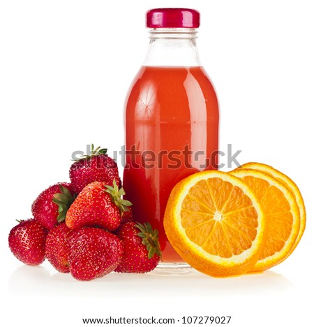a bottle  juice with fresh orange and strawberry , iIsolated on white background - stock photo