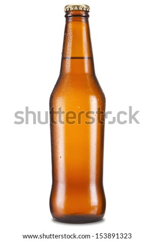 A bottle of beer isolated over a white background. - stock photo