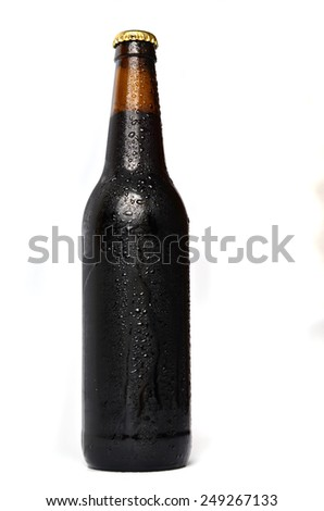 A bottle of beer on white background - stock photo