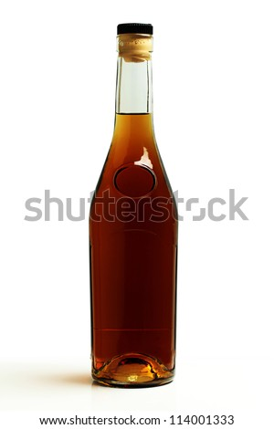 A bottle of brandy on a white background. - stock photo