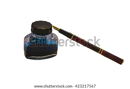 A bottle of ink and pen isolated on white background - stock photo