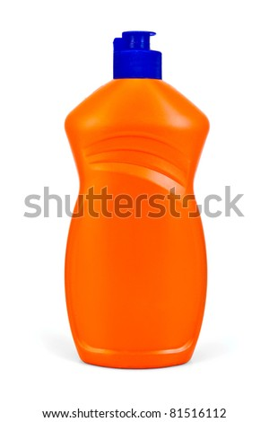 A bottle of orange with detergent isolated on a white background - stock photo
