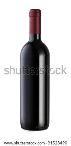 A bottle of red wine with a blank label, isolated on white with clipping path. - stock photo