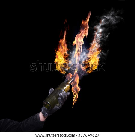 A bottle with Molotov cocktails. The flame in the form of trident. isolated. A series of images. - stock photo