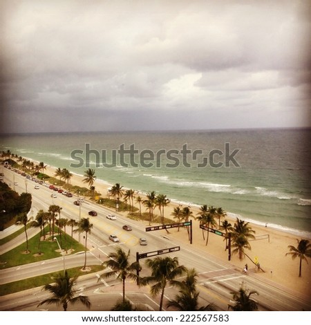 A boulevard alongside the ocean and beach lined with palm trees. - stock photo