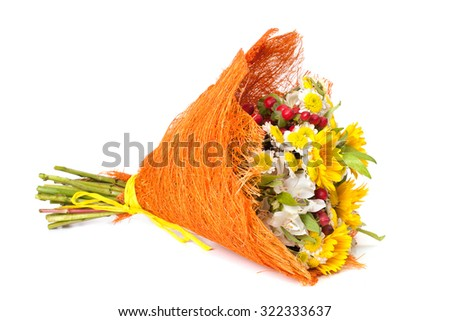 a bouquet of bright yellow-orange flowers on a white background - stock photo