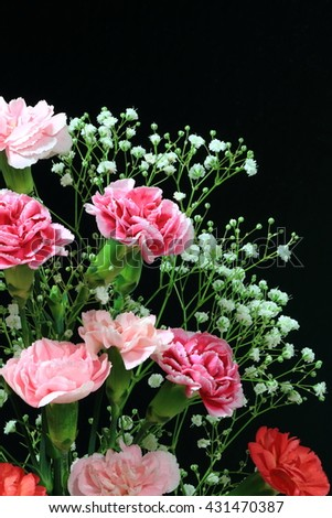 A bouquet of Colorful carnation and Baby's-breath - stock photo