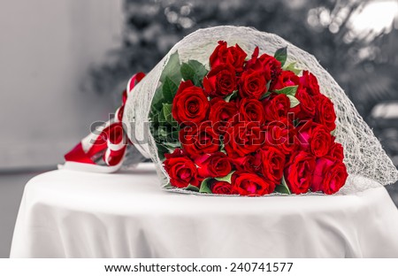 A bouquet of flowers bouquet of a hundred red roses - stock photo
