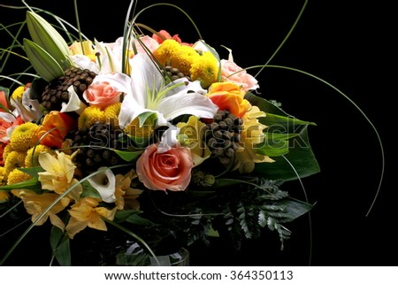 a bouquet of flowers on a black background - stock photo