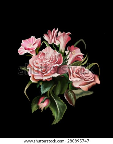 A bouquet of roses on a black background, watercolor illustration, can be used as greeting card, wedding Invitation, birthday and other holiday - stock photo