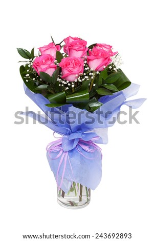 A bouquet of vivid pink roses in a clear glass vase isolated on white background. Possible gift for a valentine's day or a wedding anniversary - stock photo