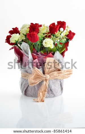 a bouquet of white and red roses - stock photo