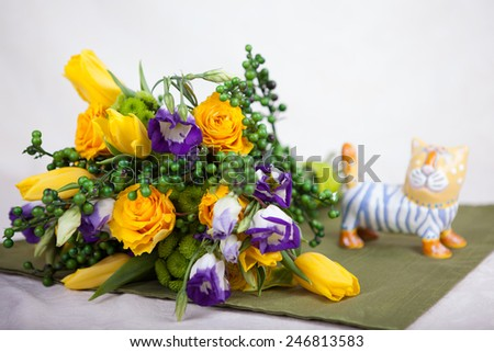 a bouquet of yellow roses - stock photo