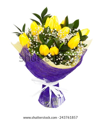 A bouquet of yellow tulips isolated on white background. Possible gift for a valentine's day or a wedding anniversary - stock photo