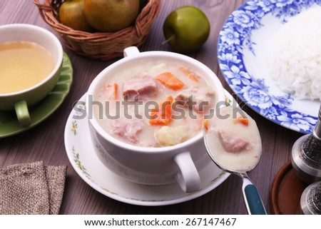 A bowl of creamy pork stew.  - stock photo