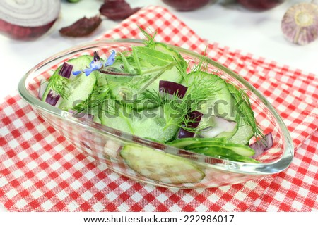 a bowl of cucumber salad with dill and red onions - stock photo