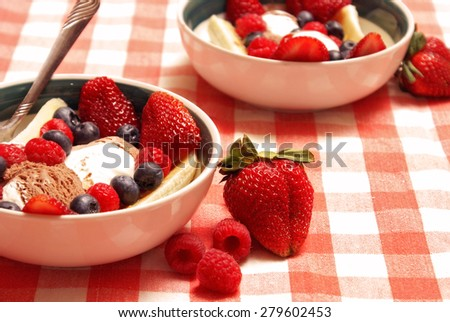 A bowl of delicious fresh fruit and Neapolitan ice cream served as a gourmet dessert after a hearty meal. - stock photo