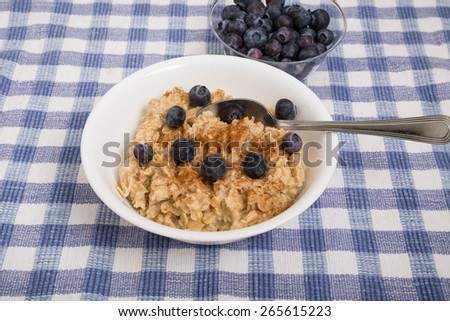 A bowl of hot oatmeal garnished with ground cinnamon and fresh blueberries - stock photo