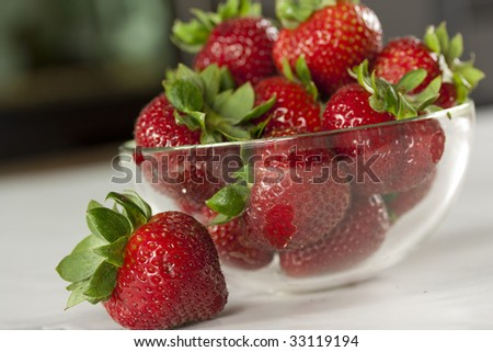 A bowl of strawberries - stock photo