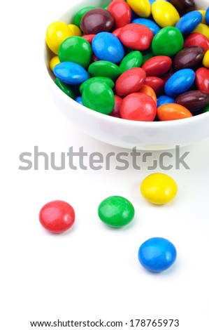 A bowl of various vibrant chewy candies - stock photo