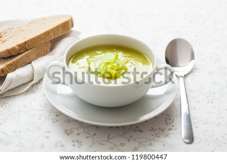 a bowl with leek soup - stock photo