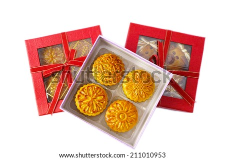 A Box of  Moon cake - food for eat and for gift in mid-autumn festival ( Banh Trung Thu ) at Vietnam and a few asian countries. - stock photo