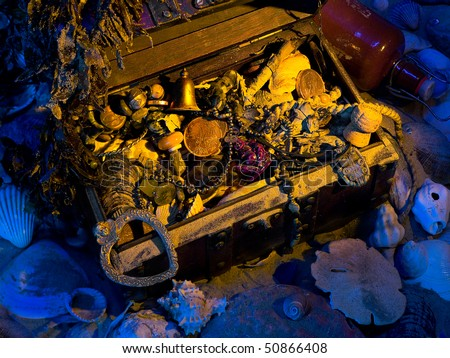 A box of treasure, buried in the ocean - stock photo