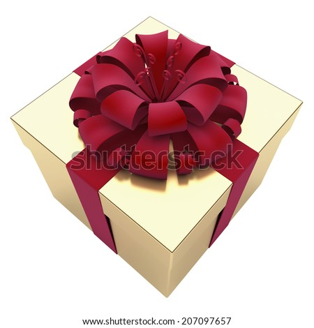 A box with a gift is wrapped around a red ribbon - stock photo