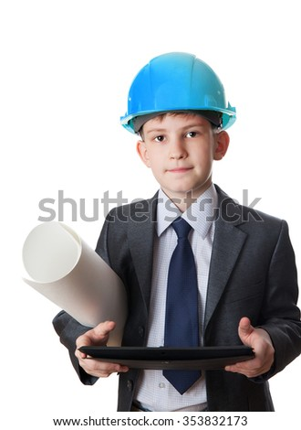 A boy in helmet is holding sheet of paper and tablet PS, isolated on white background - stock photo