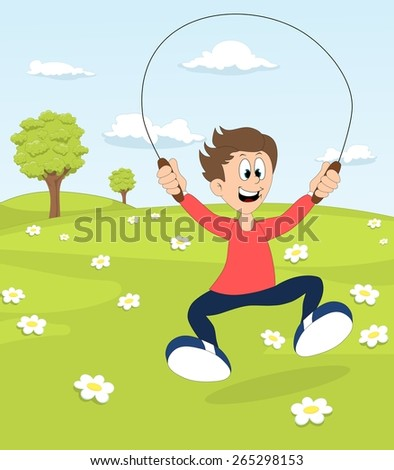 A boy playing with the skipping rope on blooming meadow  - stock photo