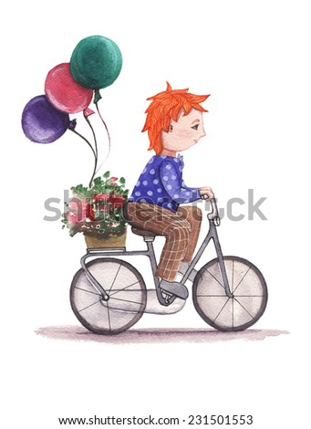 A boy rides a bicycle carries flowers gifts balloons watercolor painting on white background - stock photo