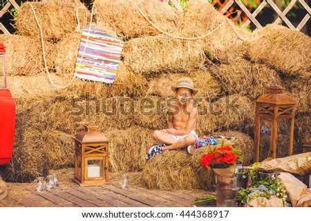 A boy sits among hay decoration, outdoor. Happy boy sitting on hay near flowers in countryside. - stock photo