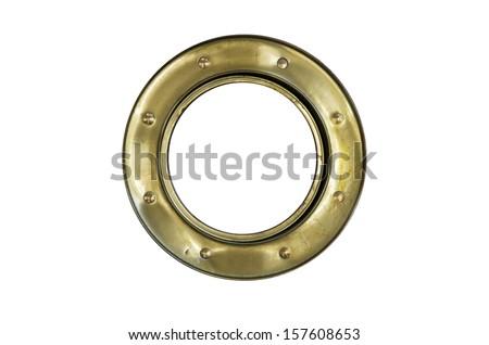 A brass ship's porthole isolated on white  - stock photo