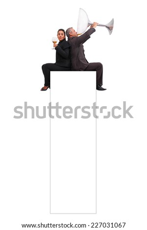 A brazilian couple just enjoying a little sip sat on a banner - Isolated on white background. - stock photo