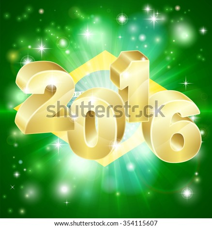 A Brazilian flag with 2016 coming out of it with fireworks. Concept for New Year or anything exciting happening in Brazil in the year 2016. - stock photo