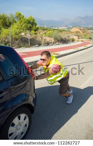 A breakdown and the following unpleasant job - stock photo